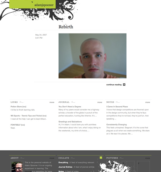 Adamjspooner.com V1, designed and built by Adam Spooner