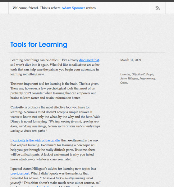 Adamjspooner.com V2, designed and built by Adam Spooner