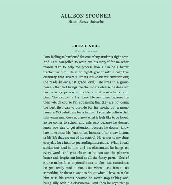 AllisonSpooner.com, designed and built by Adam Spooner