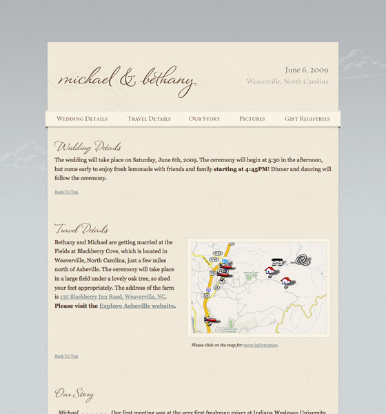The Berens Wedding Web Site