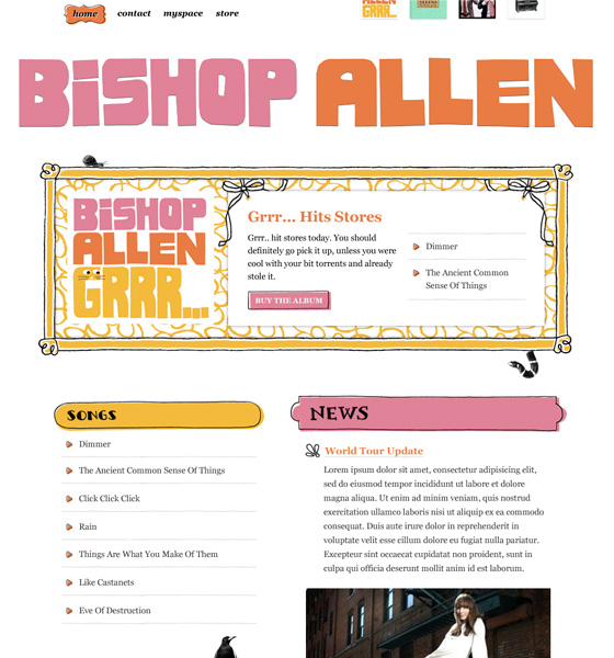 Bishop Allen Web Site