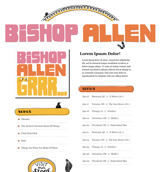 Bishop Allen Splash Page