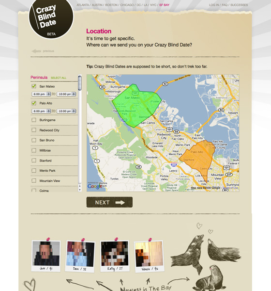 Crazy Blind Date's Location Page