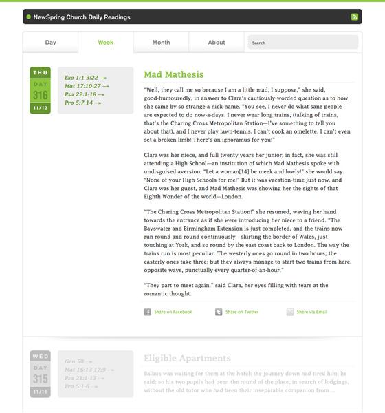 The NewSpring Daily Reading Web Site, designed by Joshua Blankenship, built by Adam Spooner