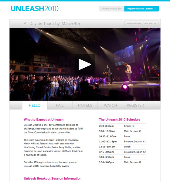 The NewSpring Unleash Web Site, designed by Joshua Blankenship, built by Adam Spooner