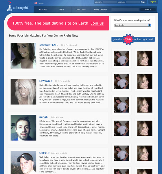 The OkCupid Landing Page