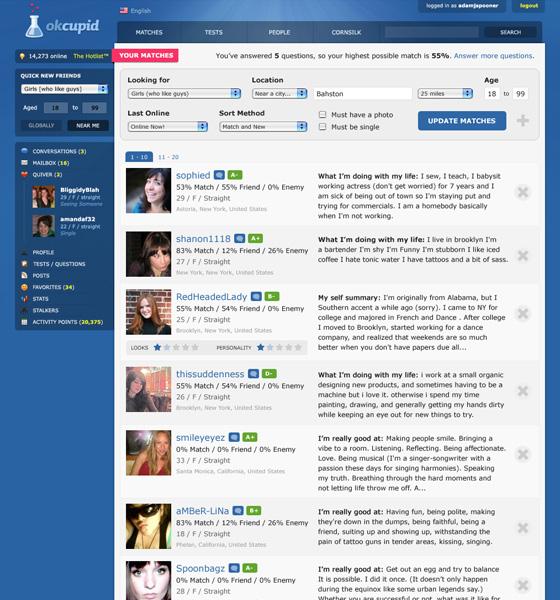 The OkCupid Match Page